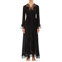 Carine Gilson Women's Lace Trimmed Silk Long Robe Blue
