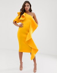 Lavish Alice One Shoulder Scuba Midi Dress With Frill Detail In Golden Yellow