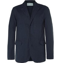 Our Legacy Blue Archive Unstructured Linen And Cotton Blend Blazer Navy