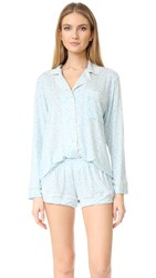Eberjey Tesoro Long Sleeve Short Pj Set Magnolia Washed Denim