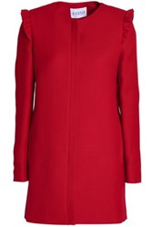 Claudie Pierlot Ruffle Trimmed Twill Coat Red