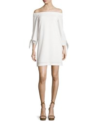 Tibi Structured Crepe Off The Shoulder Shift Dress Ivory