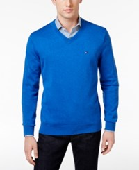Tommy Hilfiger Men's Signature Solid V Neck Sweater Nautical Blue Heather
