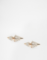 Love Rocks Conical Through And Through Stud Earrings Gold