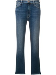 Mother Cropped Straight Leg Jeans Blue