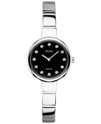 Seiko Women's Solar Diamond Accent Stainless Steel Bangle Bracelet Watch 22Mm Sup365 No Color