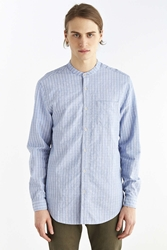 Your Neighbors Textured Stripe Mandarin Collar Shirt Blue