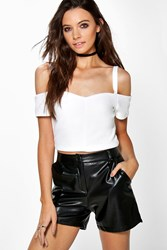 Boohoo Cut Out Shoulder Zip Back Bralet White