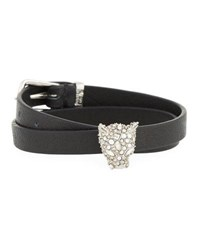 Alexis Bittar Leather Choker Wrap Bracelet With Panther Head Charm Silver