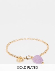 Mirabelle Belcher Chain 18Cm Gold Plated Bracelet With Amethyst Amethyst
