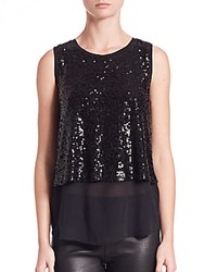 Generation Love Yuri Sequin Layered Silk Tank Top Black