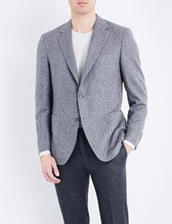 Canali Herringbone Woven Regular Fit Wool Jacket Grey