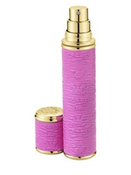 Creed Refillable Leather And Goldtone Trim Pocket Atomizer Pink .