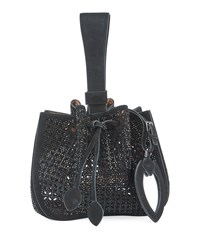 Alaia Rose Marie Small Cutout Suede Bucket Bag Black
