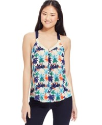 Jolt Juniors' Tropical Print Lace Trim Tank Top