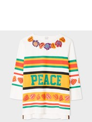 Paul Smith Men's White Embroidered Floral 'Peace' Stripe Hockey Top Orange