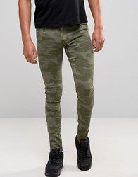 Brooklyn Supply Co. Co Slim Fit Jeans In Green Camo Green