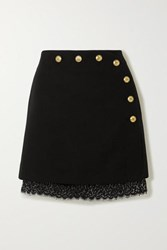 Givenchy Lace Trimmed Button Embellished Wool Mini Skirt Black
