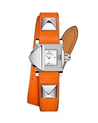 Hermes 16Mm Medor Mini Watch W Orange Leather Strap