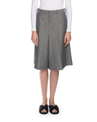 Wide Leg Chambray Suiting Shorts Gray