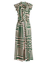 Preen Willa Geometric Print Silk Midi Dress Green Multi