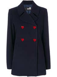 Love Moschino Double Breasted Heart Button Coat Women Polyamide Viscose Cashmere Virgin Wool 38 Blue