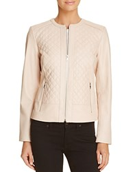 Cole Haan Quilted Leather Jacket Pale Pink