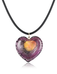 Akuamarina Silver Leaf And Murano Glass Heart Pendant Necklace Purple Gold