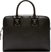 Dolce And Gabbana Black Pebbled Leather Briefcase