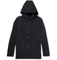 Aspesi Cotton Blend Hooded Jacket Navy