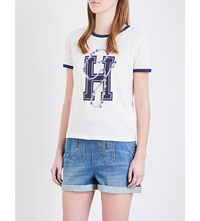 Tommy Hilfiger Gigi Hadid Ringer Cotton Jersey T Shirt Snw Whte Peact Trm