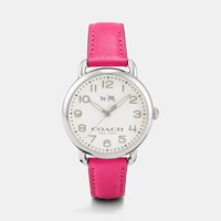Coach 75Th Anniversary Delancey Stainless Steel Leather Strap Watch Dahlia