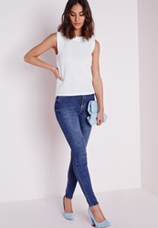 Missguided High Waisted Skinny Jean Vintage Blue Blue
