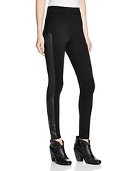 Aqua Faux Leather Trimmed Leggings Black Black