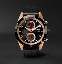 Montblanc Timewalker Automatic Chronograph 43Mm 18 Karat Red Gold Ceramic And Leather Watch Black