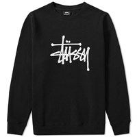 Stussy Chain Stitch Applique Crew Sweat Black