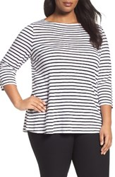 Eileen Fisher Plus Size Women's Seaside Organic Linen Stripe Tee White Black