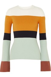 Joostricot Striped Ribbed Cotton Blend Sweater Orange Gbp