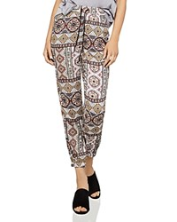 Bcbgeneration Tropical Wanderlust Jogger Pants White Sand Combo