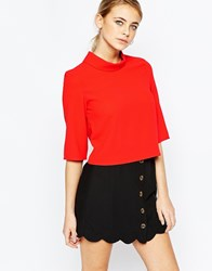 Fashion Union Funnel Neck Blouse Red