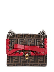 Fendi Small Kan I Logo Lace Up Leather Bag Brown Red