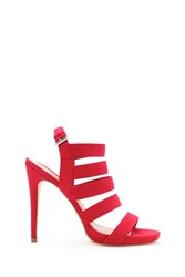 Forever 21 Faux Suede Caged Stilettos Red