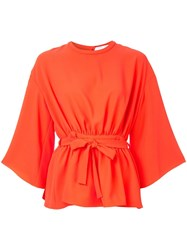 Iro Tie Waist Blouse Orange