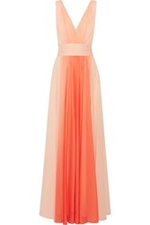 Halston Heritage Ombre Pleated Chiffon Gown Coral
