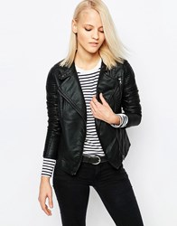 Barney's Originals Pu Leather Look Biker Bomber Jacket Black