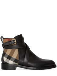 Burberry 20Mm Pryle Leather And Check Boots Black