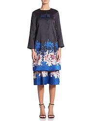 Suno Floral Print Jacket Blue Rose