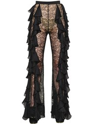 Balmain Ruffled Georgette And Lace Pants