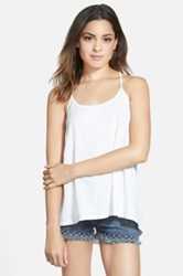 Sun And Shadow Lace Racerback Swing Tank Juniors White