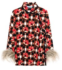 Prada Printed Top With Feather Trim Multicoloured
